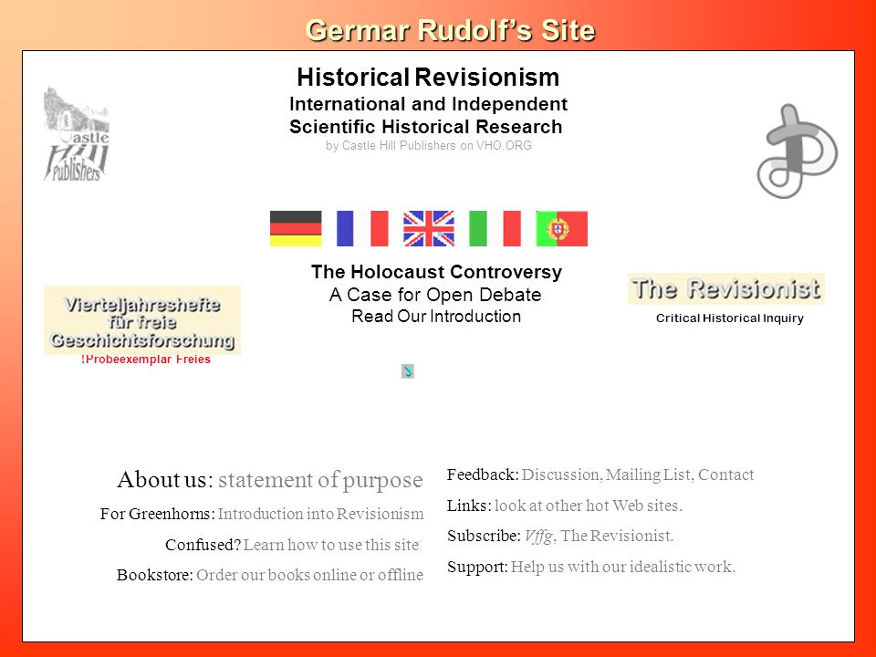 Historical Revisionism International and Independent Scientific Historical Research by Castle Hill Publishers on VHO.ORG VffG Geschichte in der Revisi