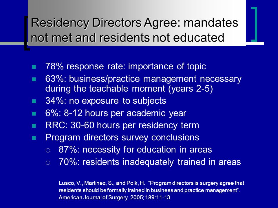 Residents Currently Lack Training in the Mandated Subjects 78% response rate: importance of topic 63%: business/practice management necessary during the teachable moment (years 2-5) 34%: no exposure to subjects 6%: 8-12 hours per academic year RRC: 30-60 hours per residency term Program directors survey conclusions  87%: necessity for education in areas  70%: residents inadequately trained in areas Lusco, V., Martinez, S., and Polk, H.