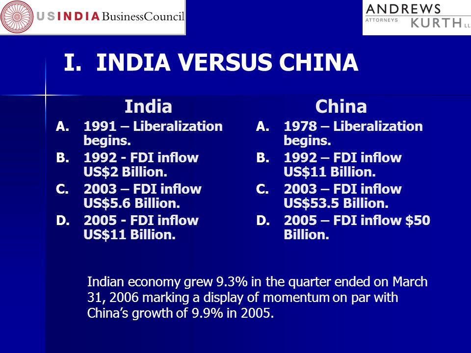 I. INDIA VERSUS CHINA India A.1991 – Liberalization begins.