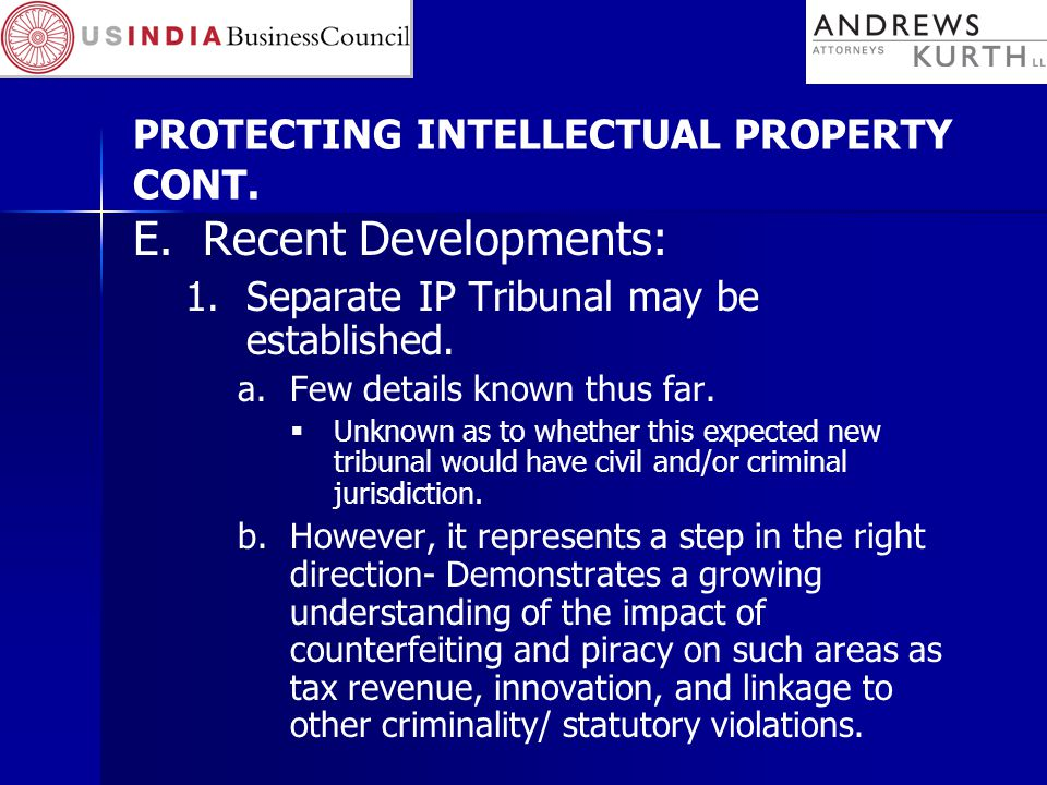 PROTECTING INTELLECTUAL PROPERTY CONT.