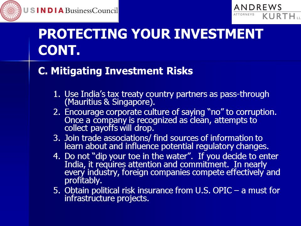 PROTECTING YOUR INVESTMENT CONT.