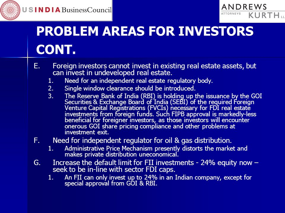 PROBLEM AREAS FOR INVESTORS CONT.