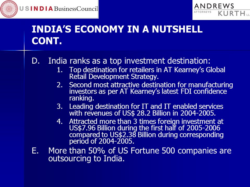 INDIA'S ECONOMY IN A NUTSHELL CONT.