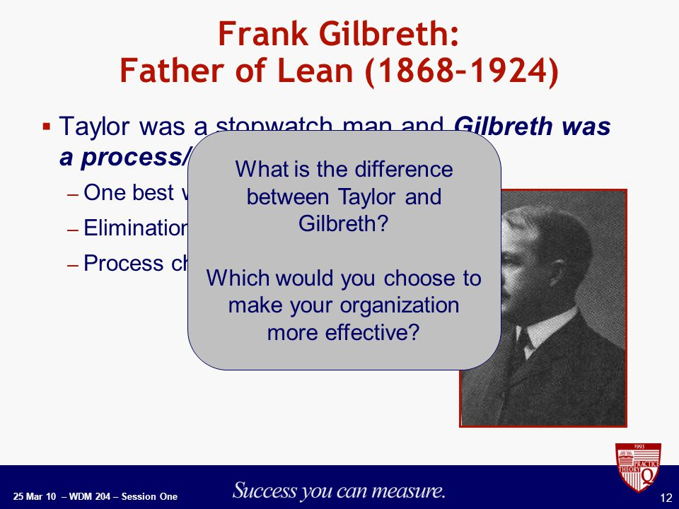 25 Mar 10 – WDM 204 – Session One 12 Frank Gilbreth: Father of Lean (1868–1924)  Taylor was a stopwatch man and Gilbreth was a process/method man: – One best way of doing things – Elimination of waste – Process charting What is the difference between Taylor and Gilbreth.