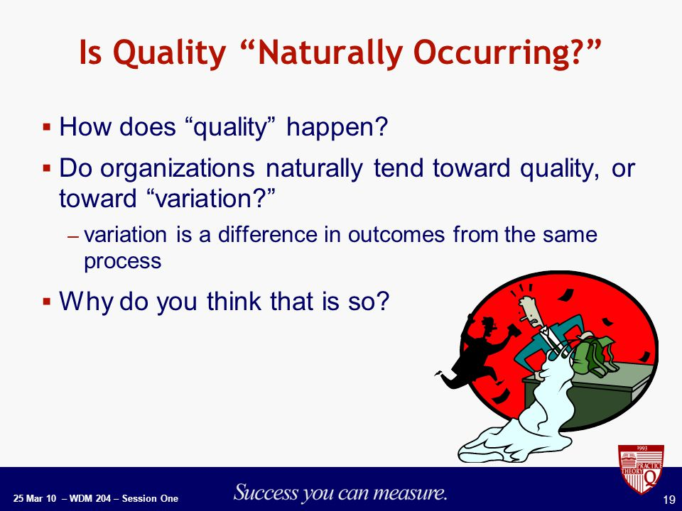 25 Mar 10 – WDM 204 – Session One 19 Is Quality Naturally Occurring  How does quality happen.