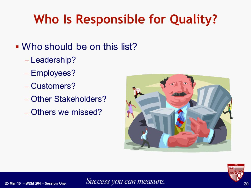 25 Mar 10 – WDM 204 – Session One 20 Who Is Responsible for Quality.