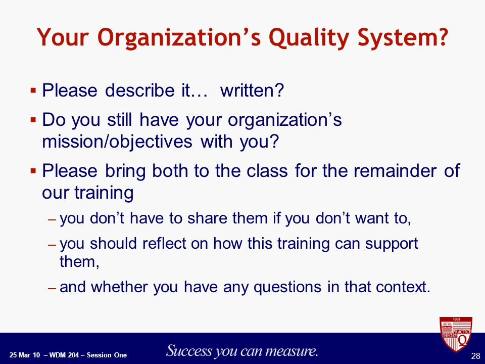 25 Mar 10 – WDM 204 – Session One 28 Your Organization's Quality System.