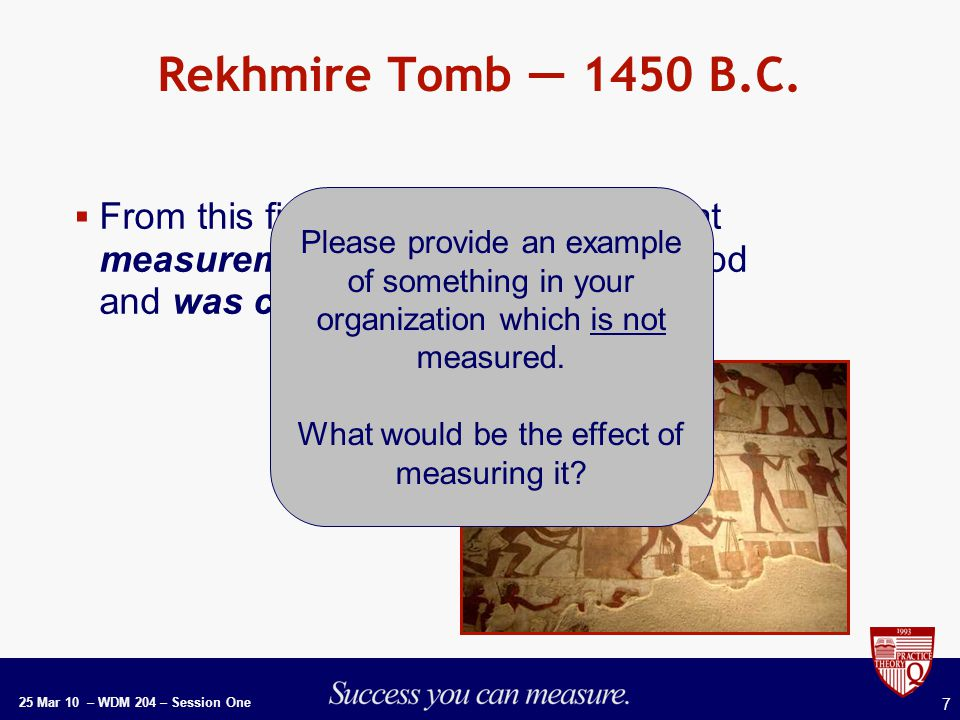 25 Mar 10 – WDM 204 – Session One 7 Rekhmire Tomb — 1450 B.C.