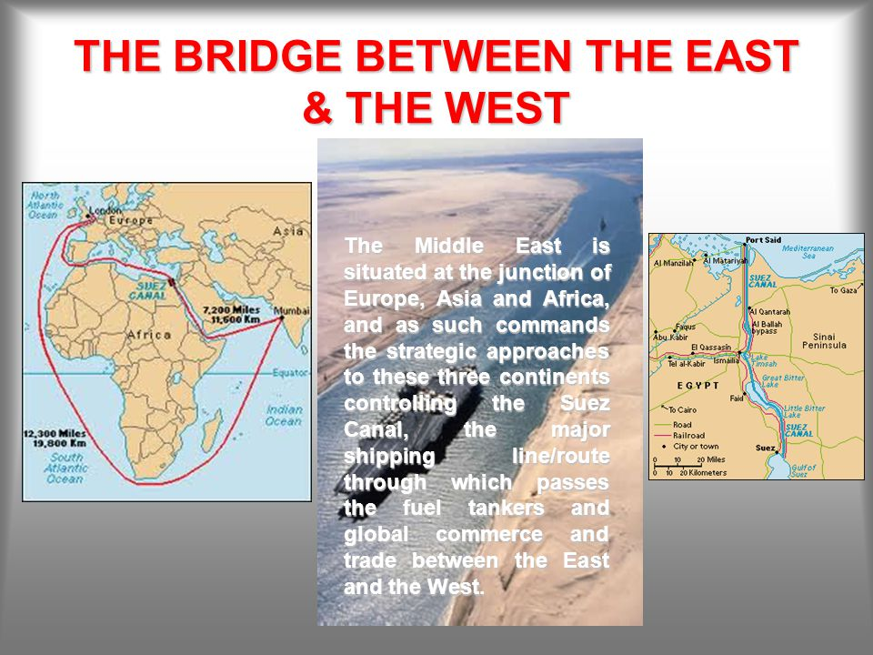 THE BRIDGE BETWEEN THE EAST & THE WEST The Middle East is situated at the junction of Europe, Asia and Africa, and as such commands the strategic approaches to these three continents controlling the Suez Canal, the major shipping line/route through which passes the fuel tankers and global commerce and trade between the East and the West.