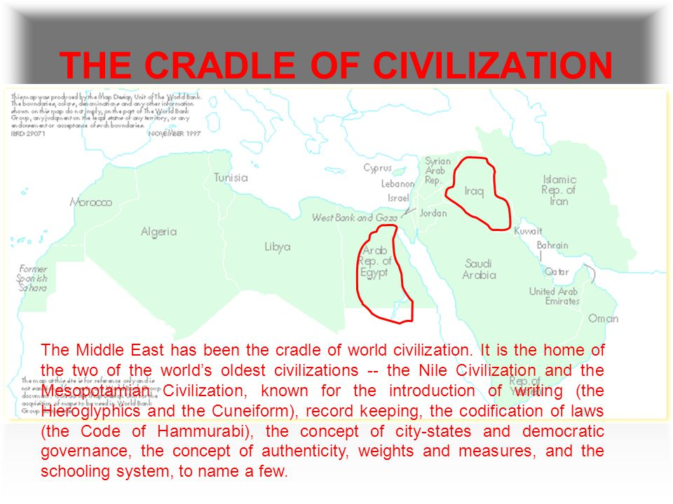 THE CRADLE OF CIVILIZATION The Middle East has been the cradle of world civilization.