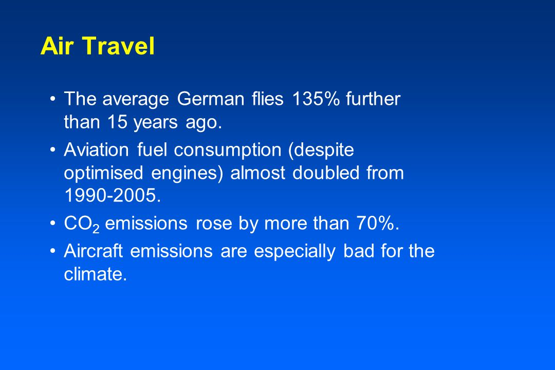 Air Travel The average German flies 135% further than 15 years ago.