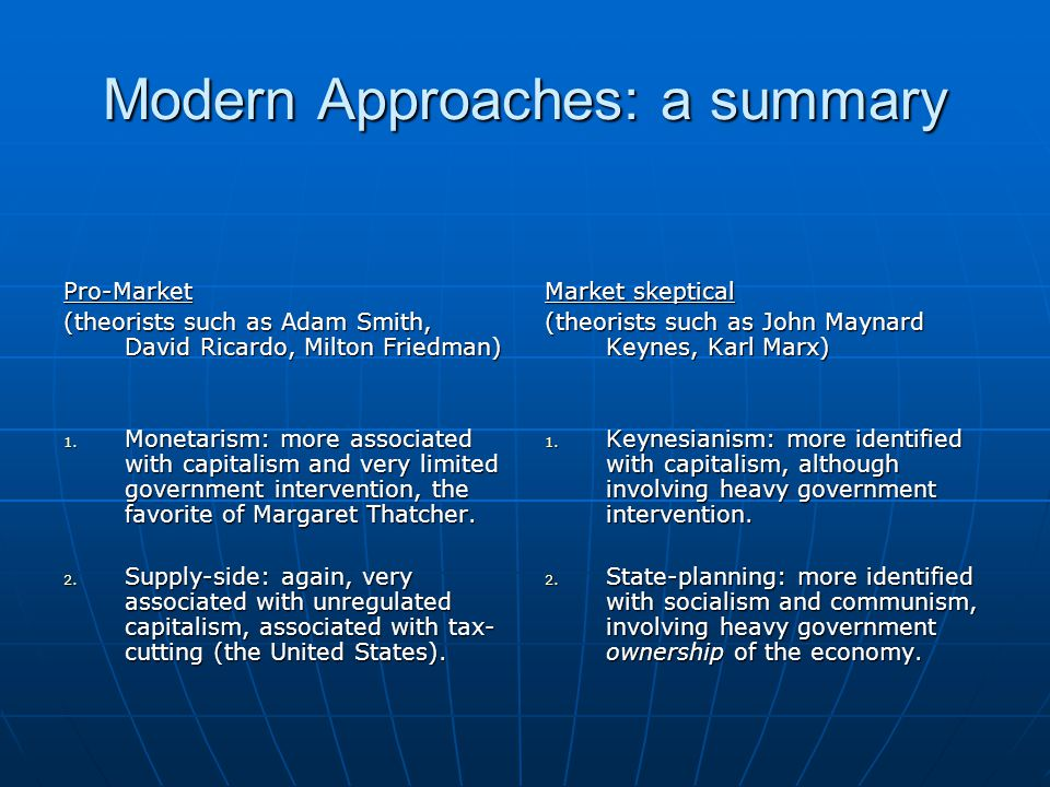 Modern Approaches: a summary Pro-Market (theorists such as Adam Smith, David Ricardo, Milton Friedman) 1. Monetarism: more associated with capitalism