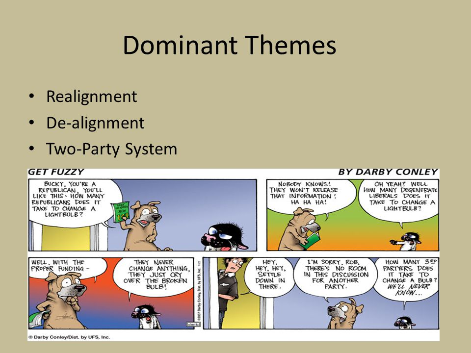 Dominant Themes Realignment – Dominate party replace by new dominant party – Critical election occurs every 28 to 36 years 1800 1828 1860 1896 1932 – Since 1968 political process characterized by divided government Presidency is controlled by one party and Congress under the control of the other party