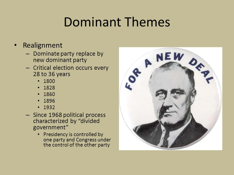Dominant Themes Causes of Realignment – Conversion Theory Shift in voter support from one party to a new party Caused by cleavage issue or wedge issue – Slavery in the 1850s – Depression in 1890s – Depression in the 1930s – Mobilization Theory New voters mobilized to vote in critical election If 2008 is a realignment – Voters converted – Voters mobilized