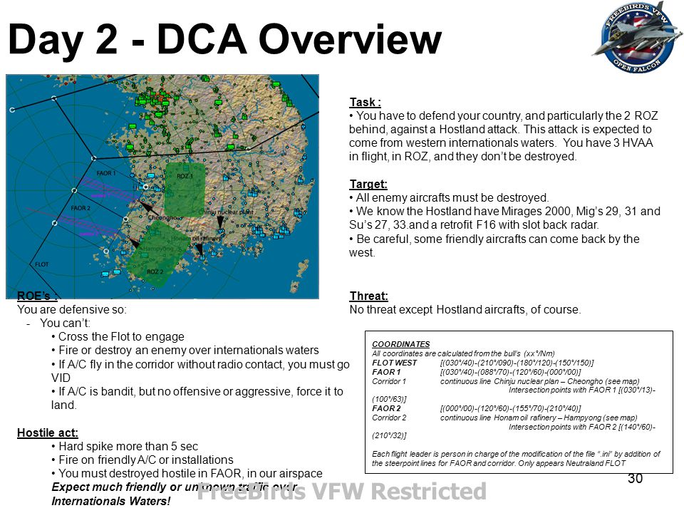 30 Day 2 - DCA Overview Task : You have to defend your country, and particularly the 2 ROZ behind, against a Hostland attack. This attack is expected