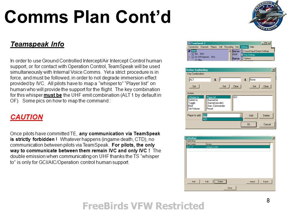 9 Comms Plan cont'd FreeBirds VFW Restricted GCI/AIC procedures Few reminders.