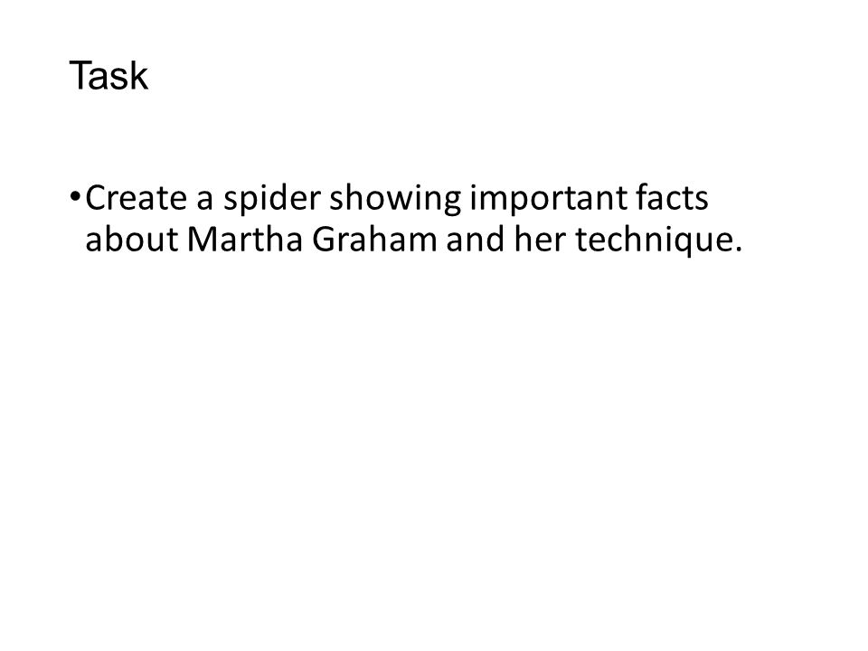 Task Create a spider showing important facts about Martha Graham and her technique.