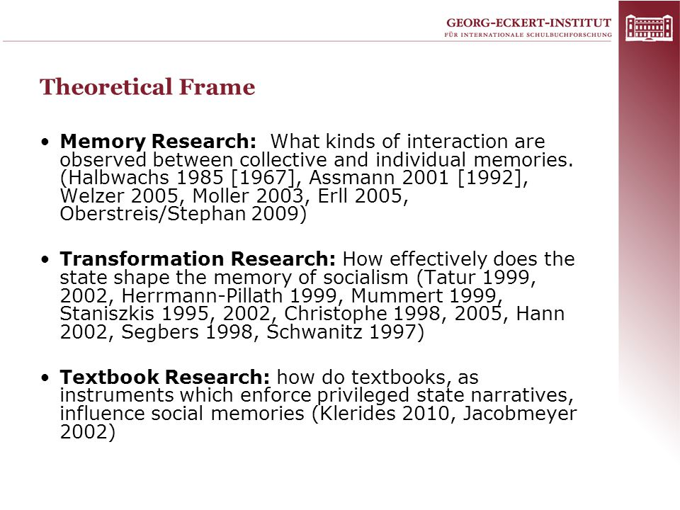 Theoretical Frame Memory Research: What kinds of interaction are observed between collective and individual memories.