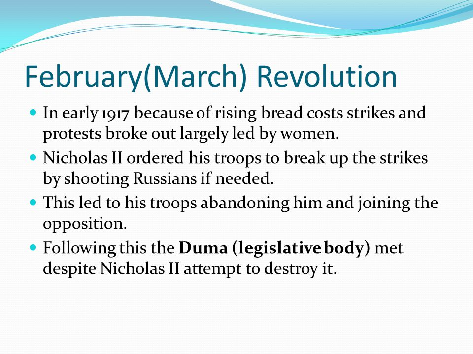 Making Connections The February Revolution in Russia resembled the French Revolution in many ways, list as many as you can.