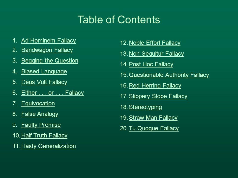 1.Ad Hominem FallacyAd Hominem Fallacy 2.Bandwagon FallacyBandwagon Fallacy 3.Begging the QuestionBegging the Question 4.Biased LanguageBiased Languag