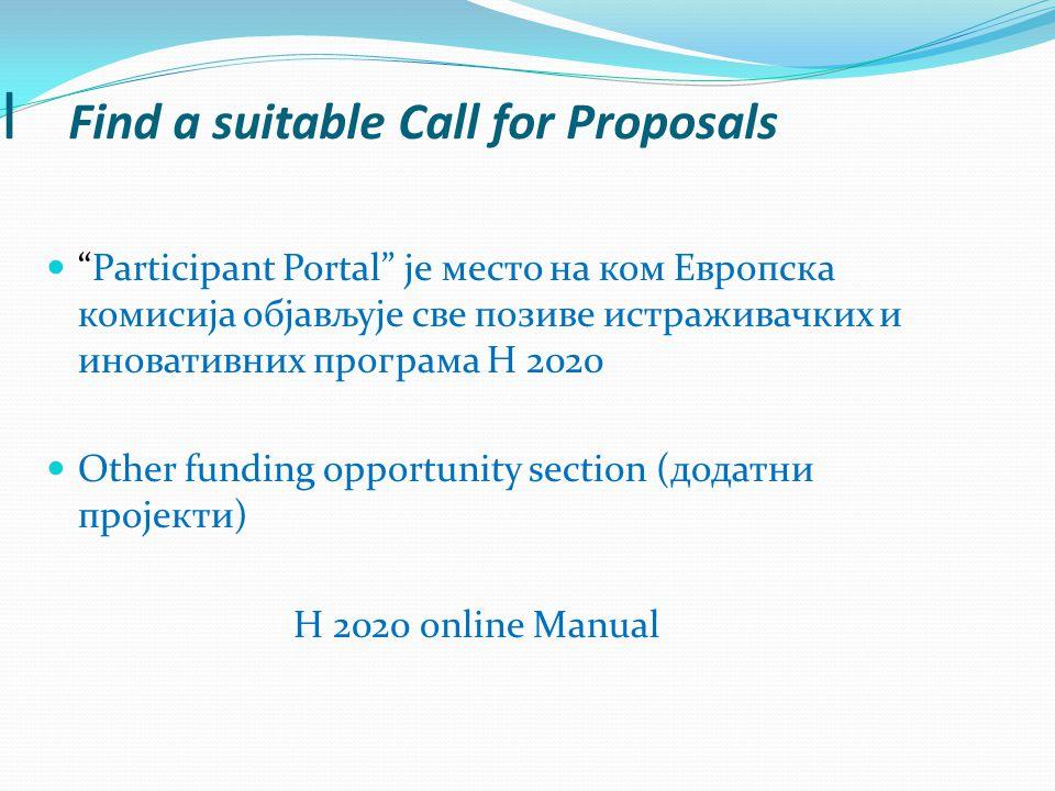 I Find a suitable Call for Proposals Participant Portal је место на ком Европска комисија објављује све позиве истраживачких и иновативних програма Н 2020 Other funding opportunity section (додатни пројекти) H 2020 online Manual