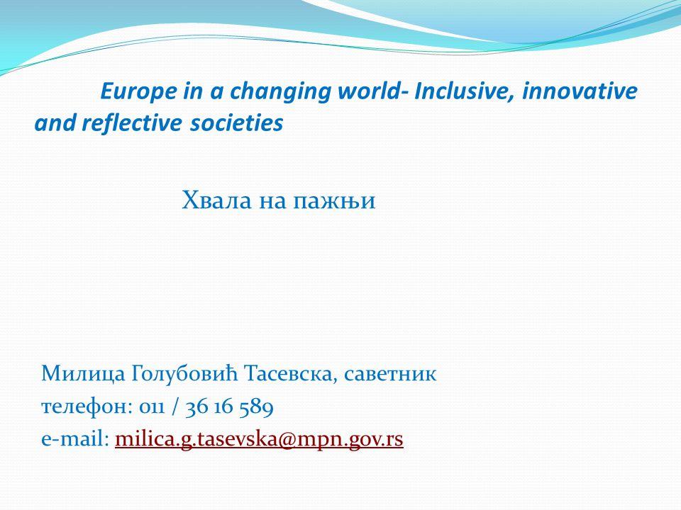Europe in a changing world- Inclusive, innovative and reflective societies Хвала на пажњи Милица Голубовић Тасевска, саветник телeфон: 011 / 36 16 589