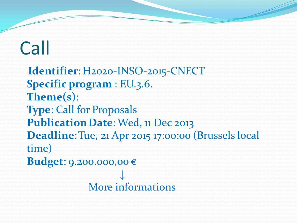 Call Identifier: H2020-INSO-2015-CNECT Specific program : EU.3.6.