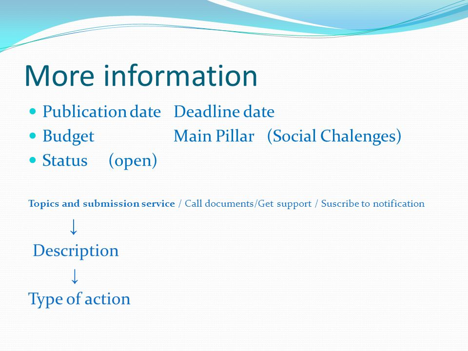More information Publication date Deadline date Budget Main Pillar (Social Chalenges) Status (open) Topics and submission service / Call documents/Get