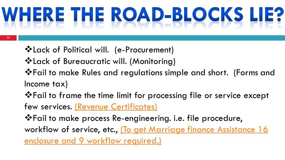 14  Lack of Political will. (e-Procurement)  Lack of Bureaucratic will.