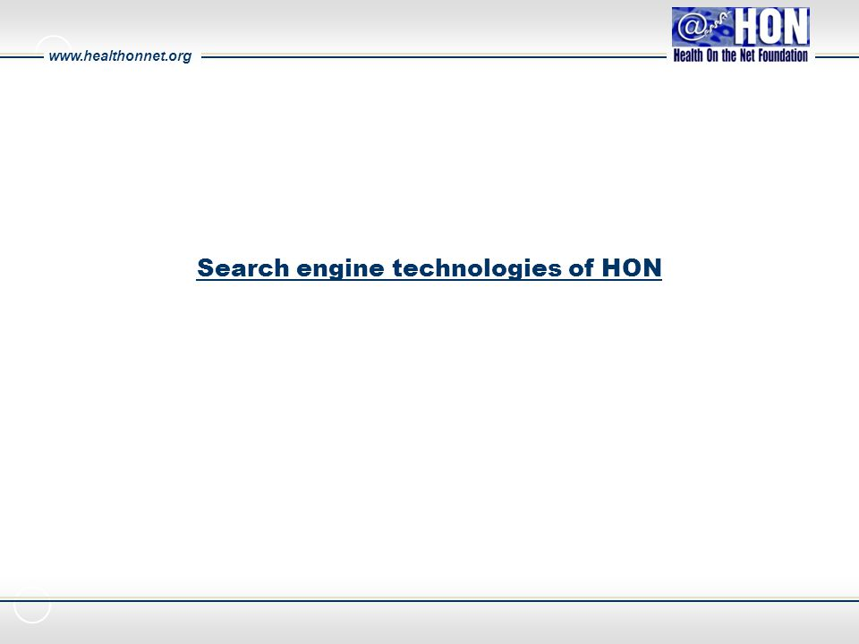 www.healthonnet.org Search engine technologies of HON