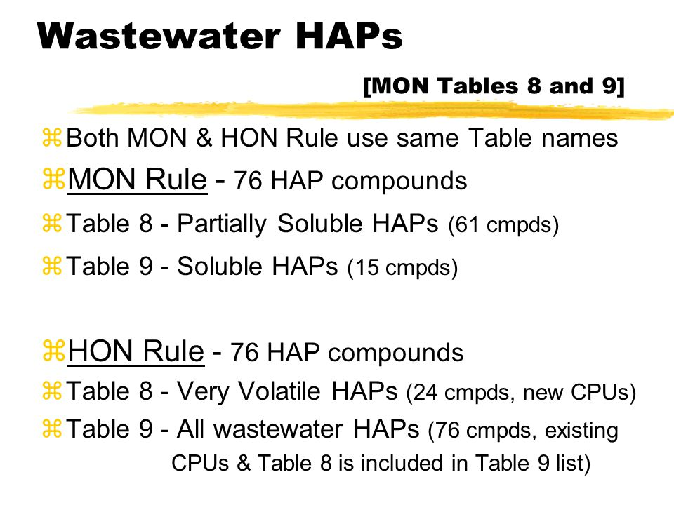Wastewater HAPs [MON Tables 8 and 9] zBoth MON & HON Rule use same Table names zMON Rule - 76 HAP compounds zTable 8 - Partially Soluble HAPs (61 cmpd