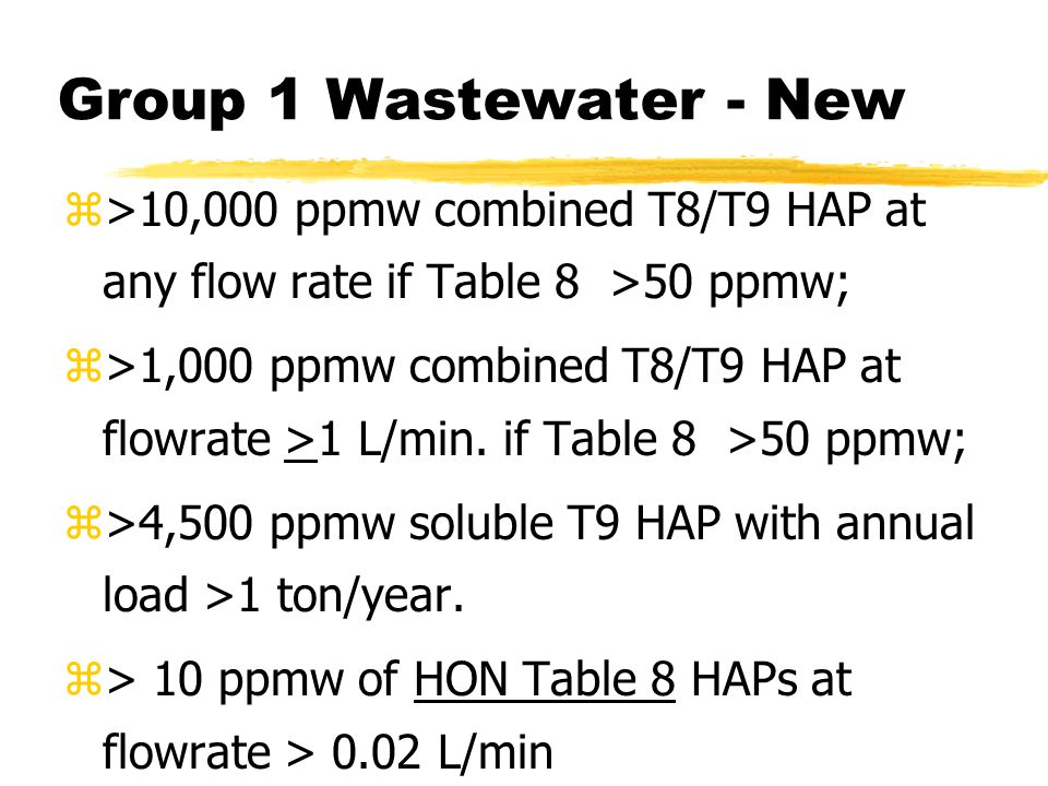 Group 1 Wastewater - New z>10,000 ppmw combined T8/T9 HAP at any flow rate if Table 8 >50 ppmw; z>1,000 ppmw combined T8/T9 HAP at flowrate >1 L/min.