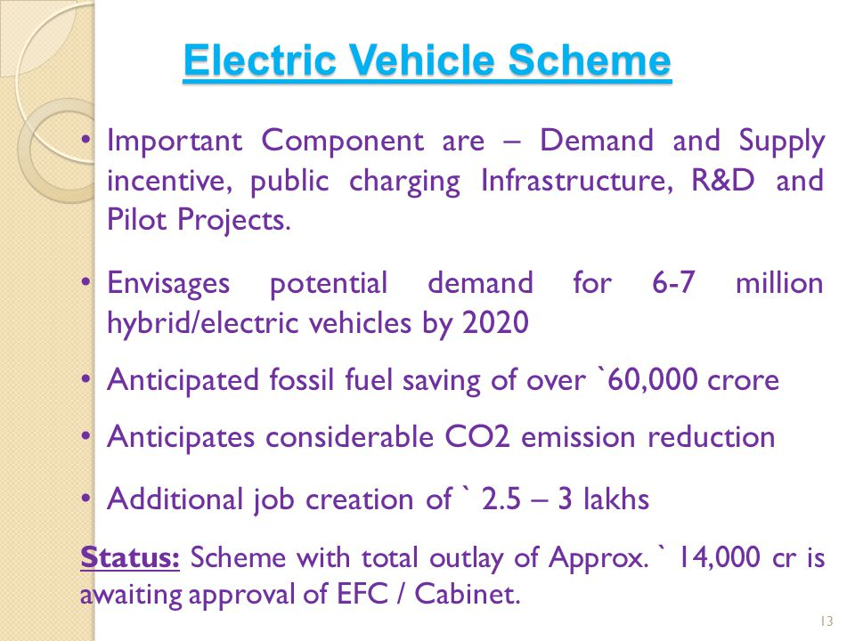Electric Vehicle Scheme 13 Important Component are – Demand and Supply incentive, public charging Infrastructure, R&D and Pilot Projects. Envisages po