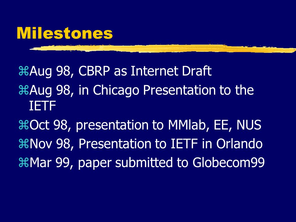 Milestones zAug 98, CBRP as Internet Draft zAug 98, in Chicago Presentation to the IETF zOct 98, presentation to MMlab, EE, NUS zNov 98, Presentation to IETF in Orlando zMar 99, paper submitted to Globecom99