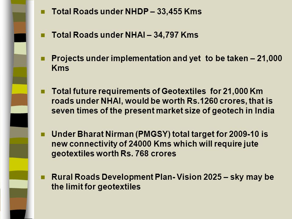Total Roads under NHDP – 33,455 Kms Total Roads under NHAI – 34,797 Kms Projects under implementation and yet to be taken – 21,000 Kms Total future requirements of Geotextiles for 21,000 Km roads under NHAI, would be worth Rs.1260 crores, that is seven times of the present market size of geotech in India Under Bharat Nirman (PMGSY) total target for 2009-10 is new connectivity of 24000 Kms which will require jute geotextiles worth Rs.