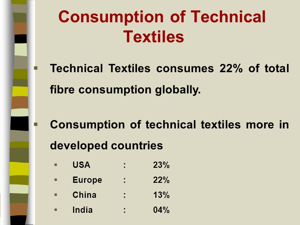 Consumption of Technical Textiles  Technical Textiles consumes 22% of total fibre consumption globally.