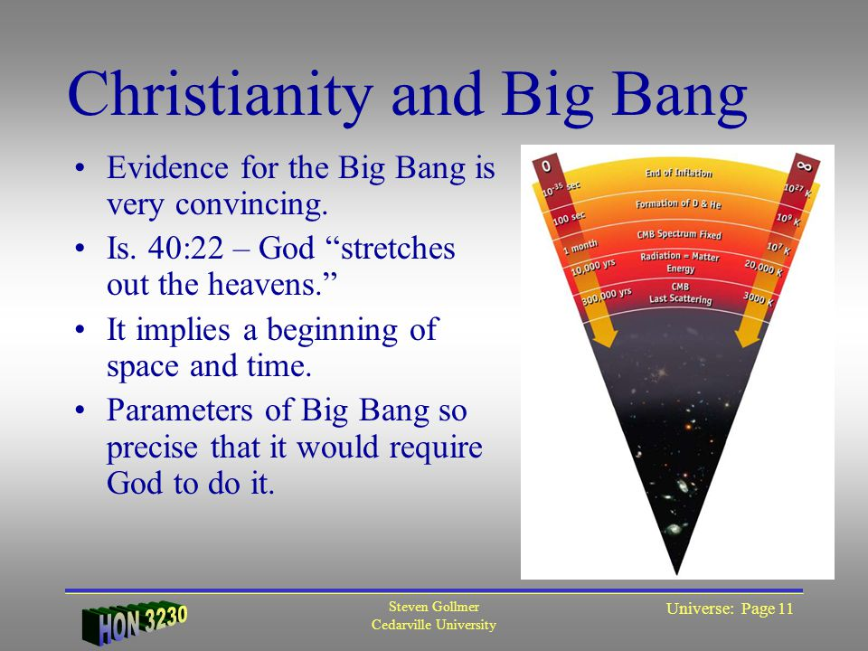 "Steven Gollmer Cedarville University Universe: Page 11 Christianity and Big Bang Evidence for the Big Bang is very convincing. Is. 40:22 – God ""stretc"