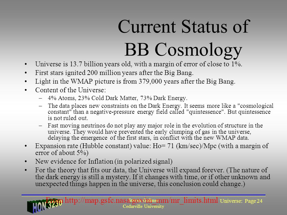 Steven Gollmer Cedarville University Universe: Page 24 Current Status of BB Cosmology Universe is 13.7 billion years old, with a margin of error of close to 1%.