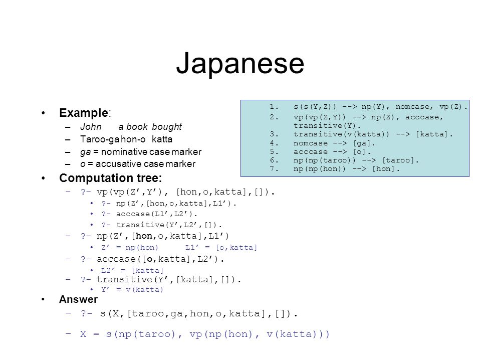 Japanese Example: –John a book bought –Taroo-ga hon-o katta –ga = nominative case marker –o = accusative case marker Computation tree: –?- vp(vp(Z',Y'), [hon,o,katta],[]).
