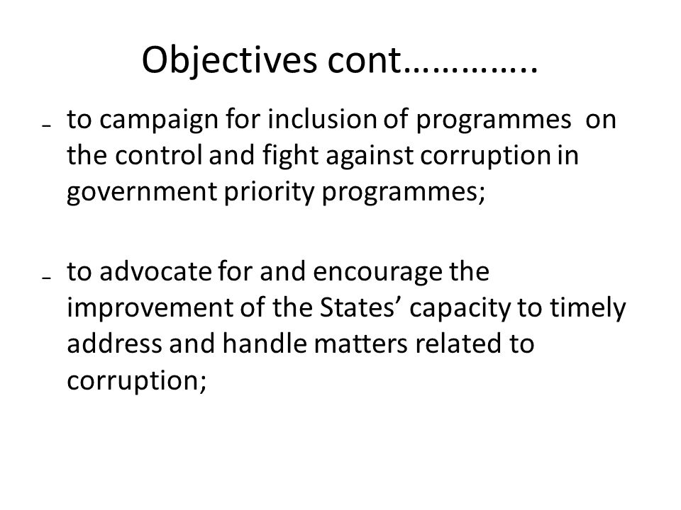 Objectives cont…………..
