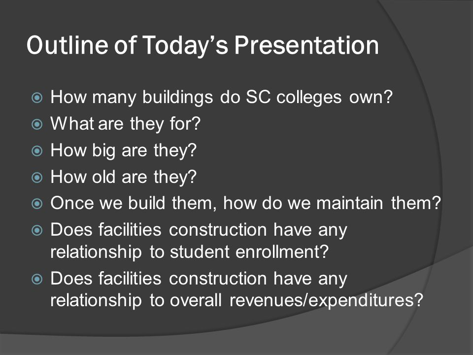 Outline of Today's Presentation  How many buildings do SC colleges own?  What are they for?  How big are they?  How old are they?  Once we build