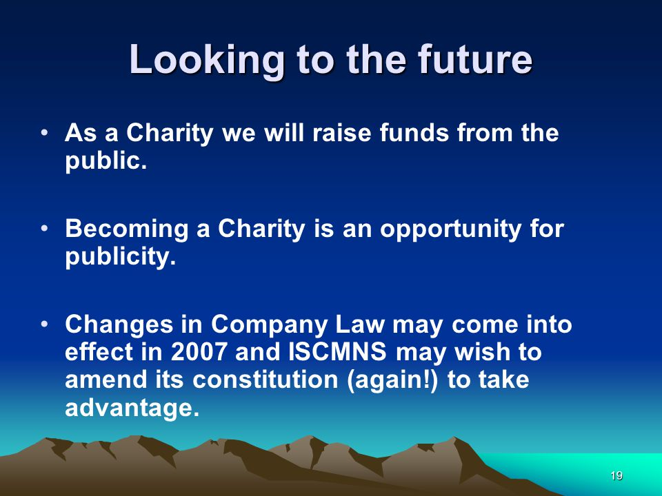 19 Looking to the future As a Charity we will raise funds from the public.