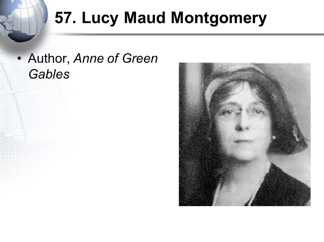 57. Lucy Maud Montgomery Author, Anne of Green Gables