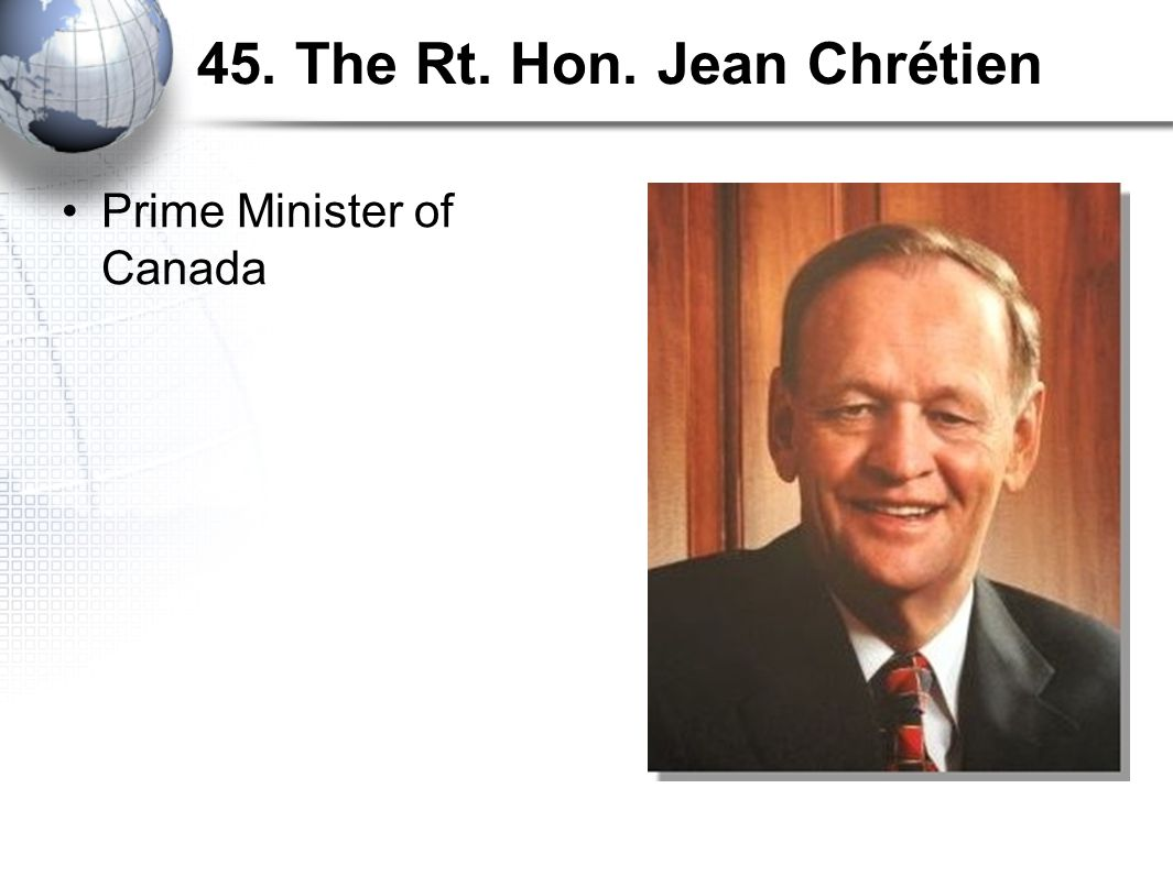 45. The Rt. Hon. Jean Chrétien Prime Minister of Canada