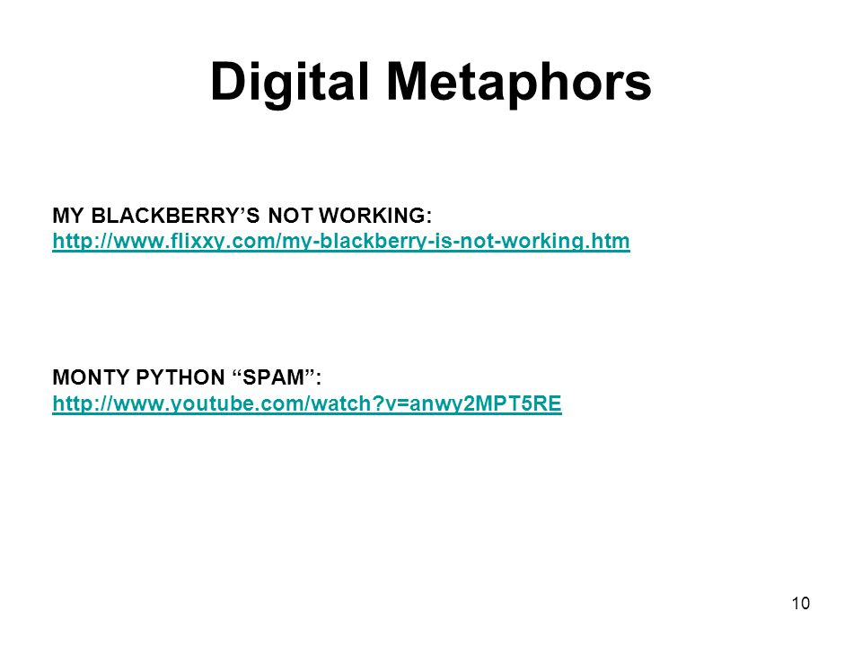"Digital Metaphors MY BLACKBERRY'S NOT WORKING: http://www.flixxy.com/my-blackberry-is-not-working.htm MONTY PYTHON ""SPAM"": http://www.youtube.com/watc"
