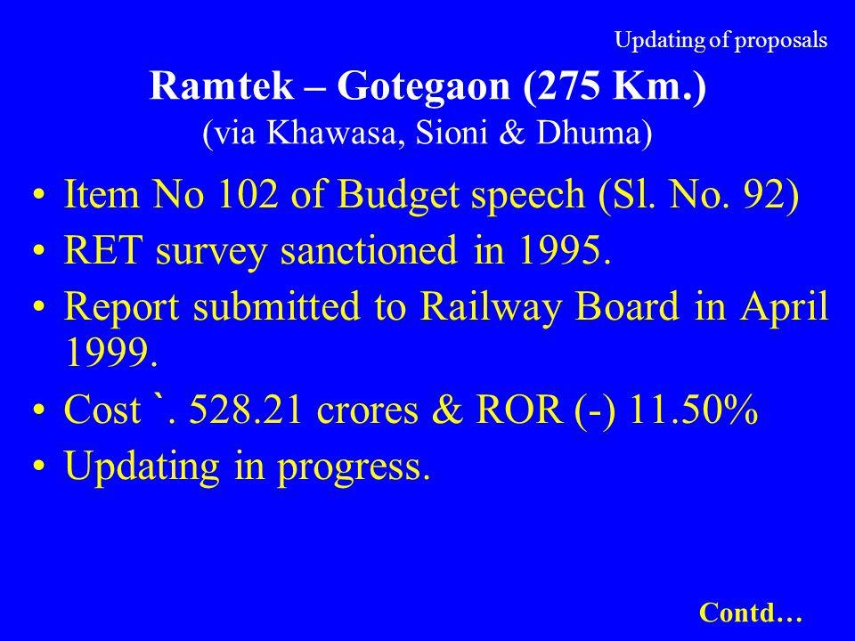 Updating of proposals Ramtek – Gotegaon (275 Km.) (via Khawasa, Sioni & Dhuma) Item No 102 of Budget speech (Sl. No. 92) RET survey sanctioned in 1995