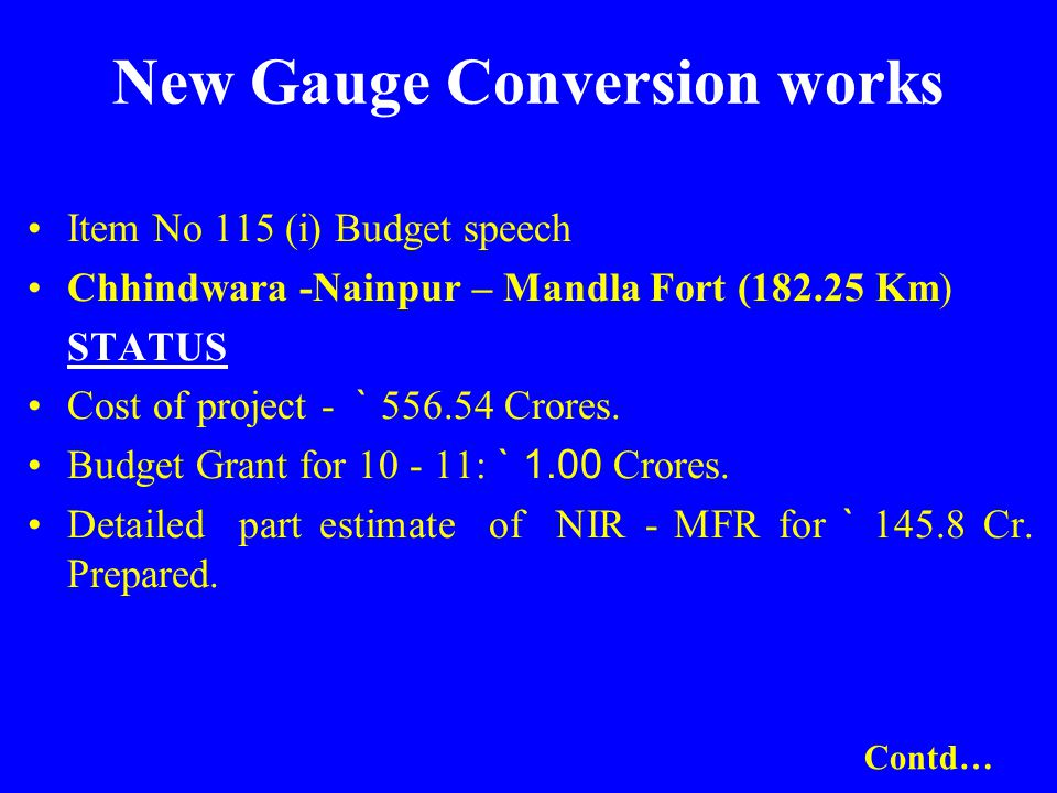 New Gauge Conversion works Item No 115 (i) Budget speech Chhindwara -Nainpur – Mandla Fort (182.25 Km) STATUS Cost of project - ` 556.54 Crores. Budge