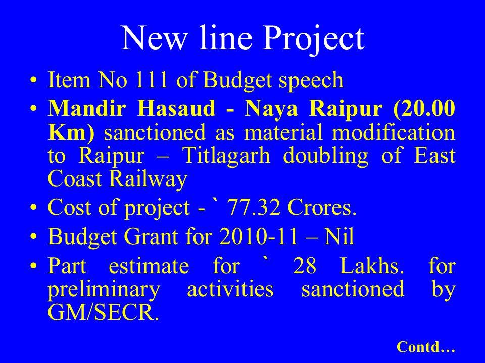 New line Project Item No 111 of Budget speech Mandir Hasaud - Naya Raipur (20.00 Km) sanctioned as material modification to Raipur – Titlagarh doublin