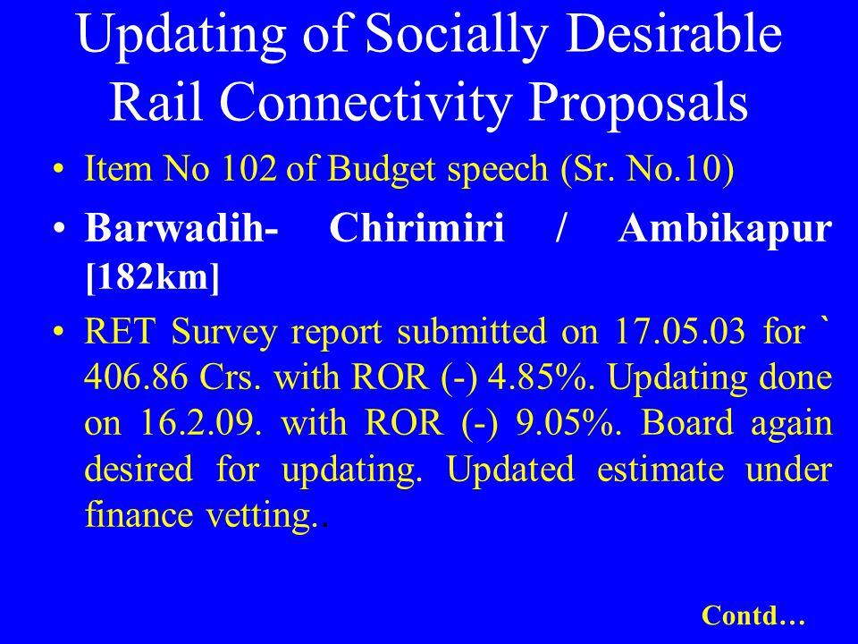 Updating of Socially Desirable Rail Connectivity Proposals Item No 102 of Budget speech (Sr. No.10) Barwadih- Chirimiri / Ambikapur [182km] RET Survey