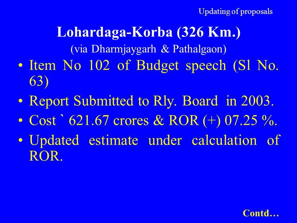 Updating of proposals Lohardaga-Korba (326 Km.) (via Dharmjaygarh & Pathalgaon) Item No 102 of Budget speech (Sl No. 63) Report Submitted to Rly. Boar